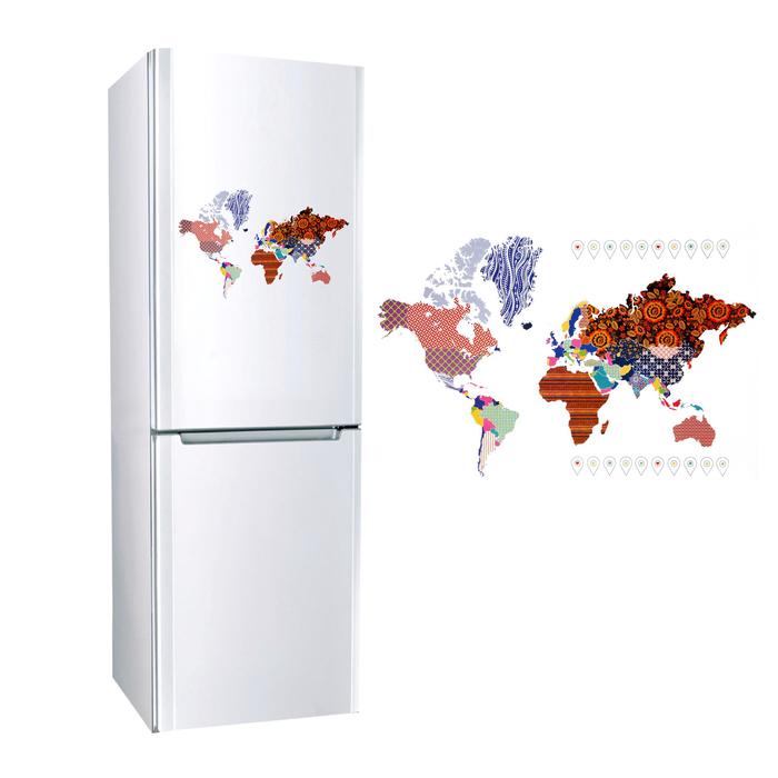 Наклейка для холодильника «Карта мира», 40 × 60 см