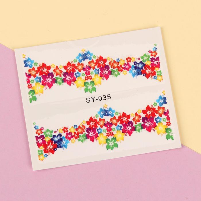 """Слайдер-дизайн для ногтей """"Цветочная рамка"""", разноцветный"""