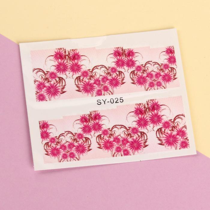 """Слайдер-дизайн для ногтей """"Розовые цветы"""", цвет коричнево-розовый"""