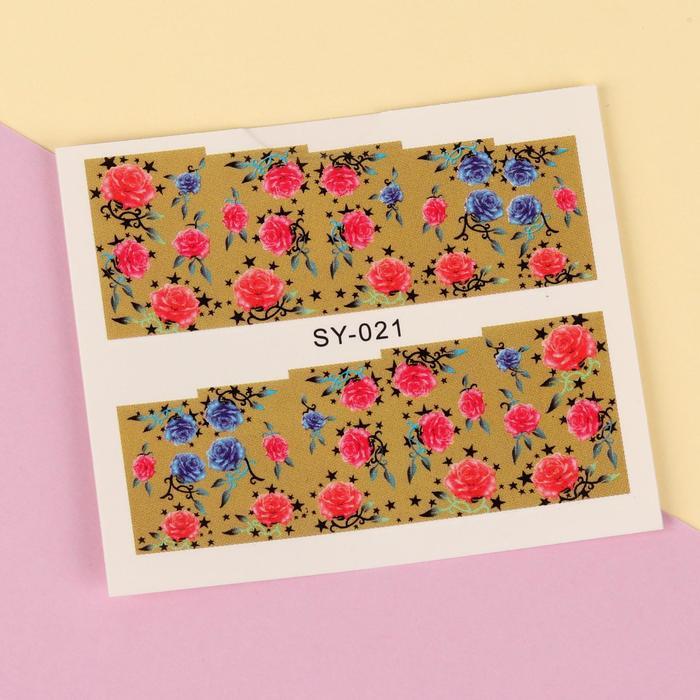 """Слайдер-дизайн для ногтей """"Миллионы роз"""", разноцветный"""