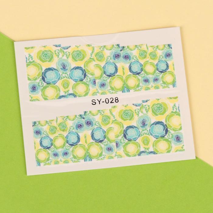 """Слайдер-дизайн для ногтей """"Голубые розы"""", цвет зелёный/голубой/белый"""