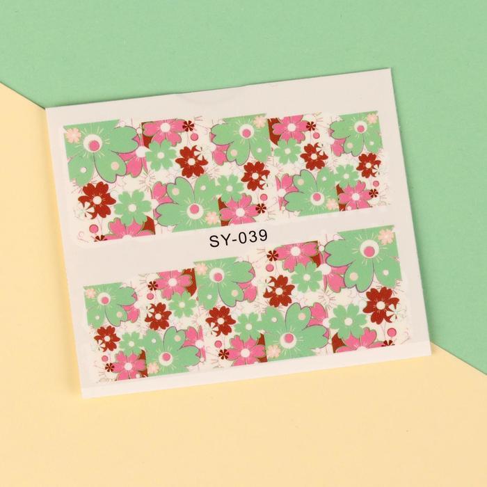 """Слайдер-дизайн для ногтей """"Цветочный фейерверк"""", цвет розовый/зелёный/красный"""