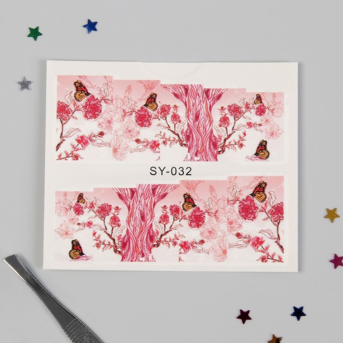 """Слайдер-дизайн для ногтей """"Бабочки в цветах"""", цвет розовый"""