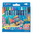 Карандаши восковые 12 цветов Yalong Океан МИКС