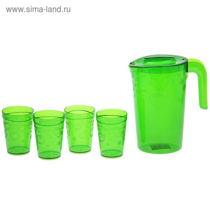 """Набор питьевой """"Люмици"""", 5 предметов: кувшин 1,8 л; 4 стакана 300 мл, цвет зеленый"""