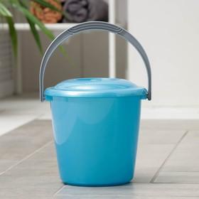 Ведро с крышкой «Соло», 3 л, цвет голубой перламутр