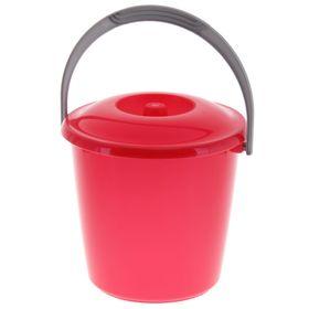 Ведро с крышкой Martika «Соло», 7 л, цвет красный перламутр