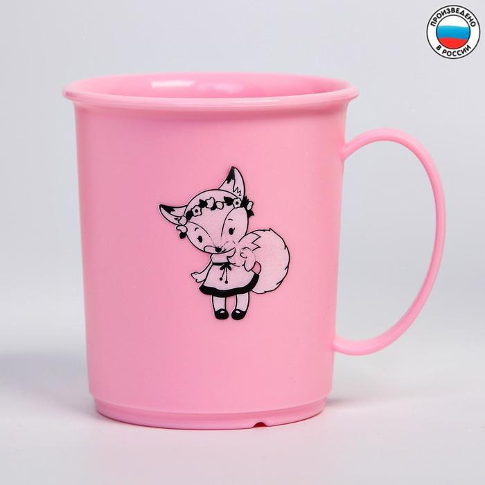 Кружка с декором 180 мл, детская, пластиковая, цвет розовый МИКС