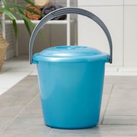 Ведро с крышкой «Соло», 7 л, цвет голубой перламутр