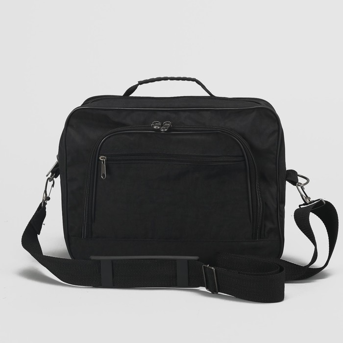 Сумка мужская на молнии, 1 отдел, 2 наружных кармана, длинный ремень, чёрная