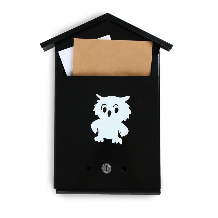 Ящик почтовый «Домик», вертикальный, с замком, чёрный