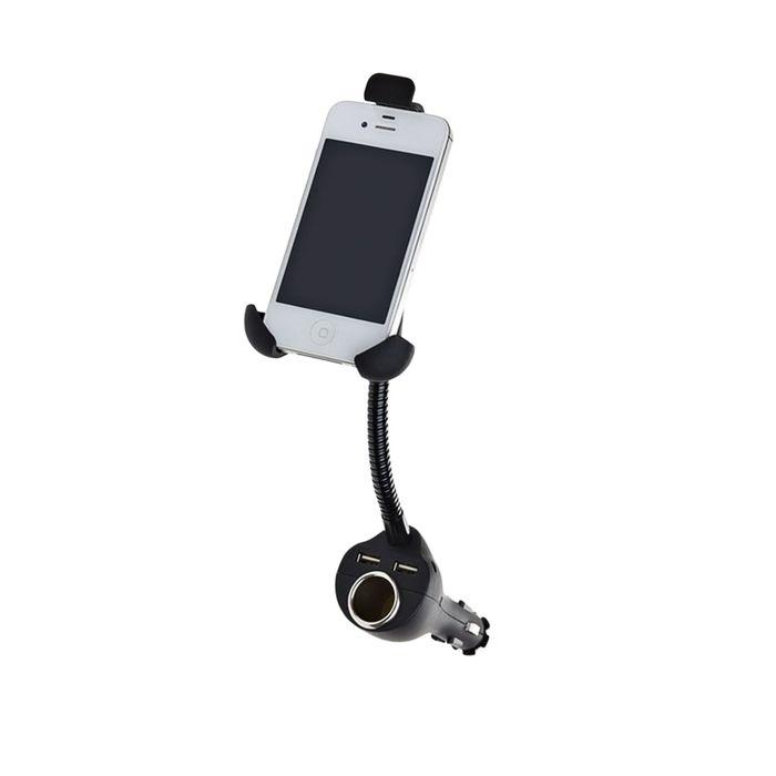 Держатель телефона, на штанге, с гнездом прикуривателя, USB, 45-75 мм, в прикуриватель