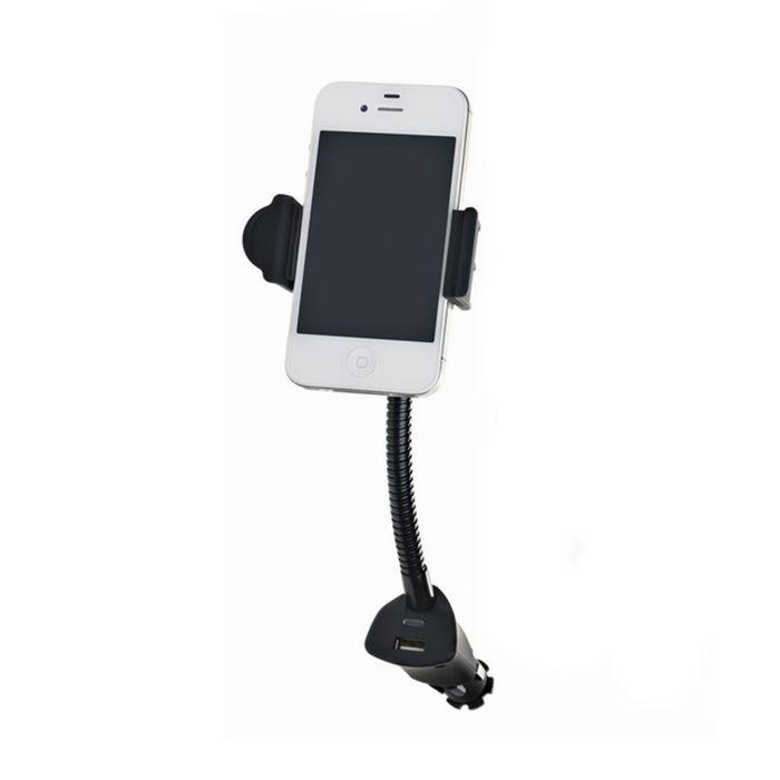 Держатель телефона, на штанге, USB, 58-85 мм, в прикуриватель
