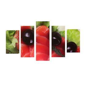 """Модульная картина на подрамнике """"Лосось"""", 2 — 43×25, 2 — 58×25, 1 — 72×25 см, 75×135 см"""