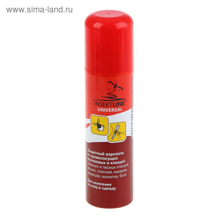 Аэрозоль защитный от кровососущих насекомых и клещей Insektline Universal, 145 мл      135338