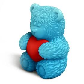 """Пластиковая форма 3D """"Медвежонок Тедди сидит с сердечком в обнимку"""" (набор 2 детали)"""