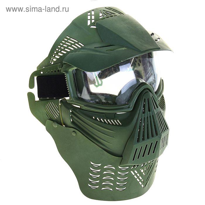Маска для страйкбола KINGRIN Tactical gear full face mask include  protect neck glass vertion (OD) M