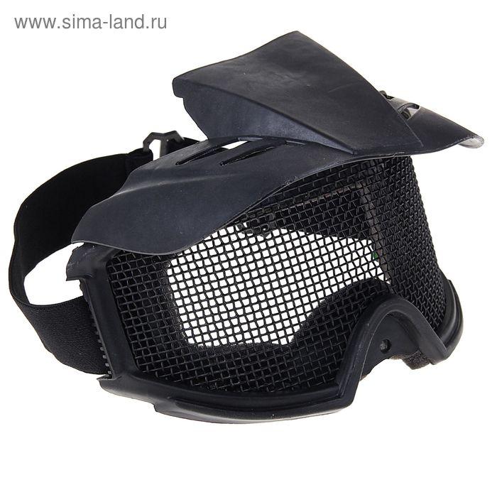Очки защитные для страйкбола KINGRIN Desert Locust mesh goggles include sunshade (Black) MA-06-BK