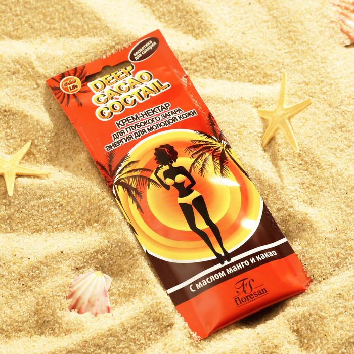 Deep Cacao Coctail Nectar Cream for deep tanning, with mango and cocoa butter, 15 ml.