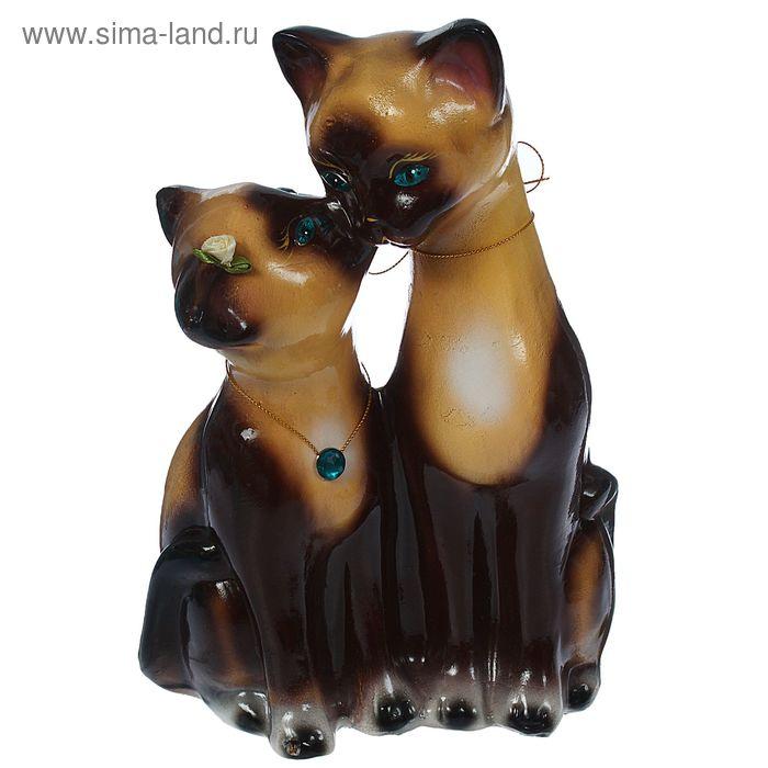 """Копилка """"Целующиеся коты"""" глянец, бежево-шоколадная, голубой страз, микс"""