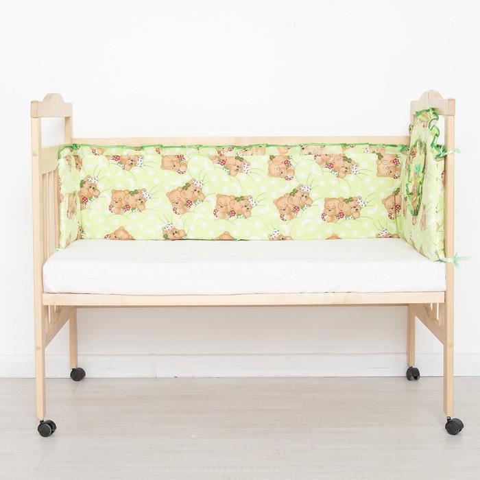"Бортик цельный ""Спящий мишка"", 4 части (2 части: 33х60 см, 2 части: 33х120 см), цвет зелёный (арт. 512) - фото 105556331"