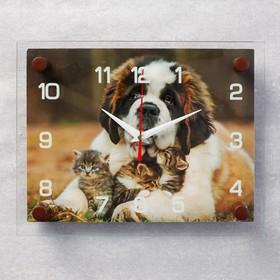 Часы настенные прямоугольные 'Сенбернар и котята', 20х26 см микс Ош