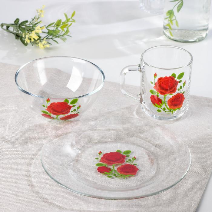 "Набор для завтрака ""Алая роза"", 3 предмета: тарелка 20 см, салатник 13 см, кружка 250 мл"