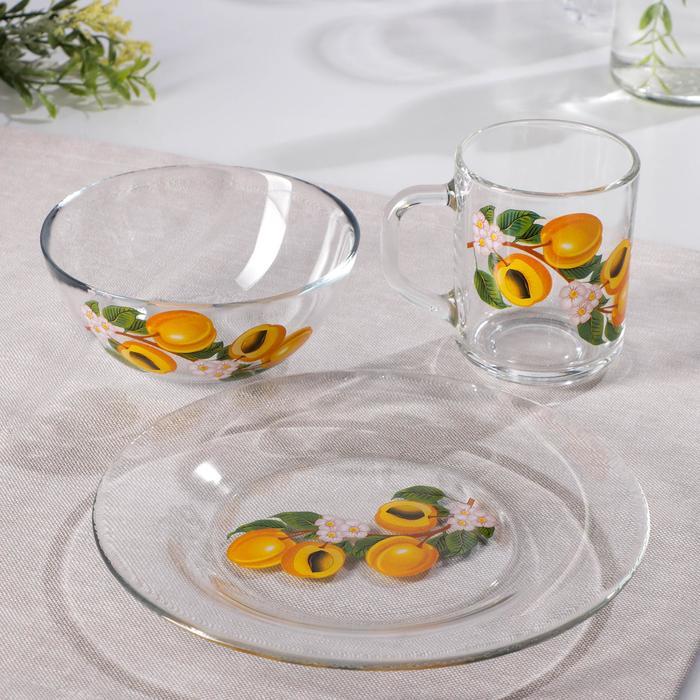 "Набор для завтрака ""Абрикосовая ветка"", 3 предмета: тарелка 20 см, салатник 13 см, кружка 250 мл"