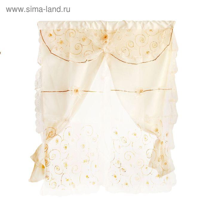 """Занавеска текстиль """"Ажур"""" 90х110 см, золотистый УЦЕНКА"""