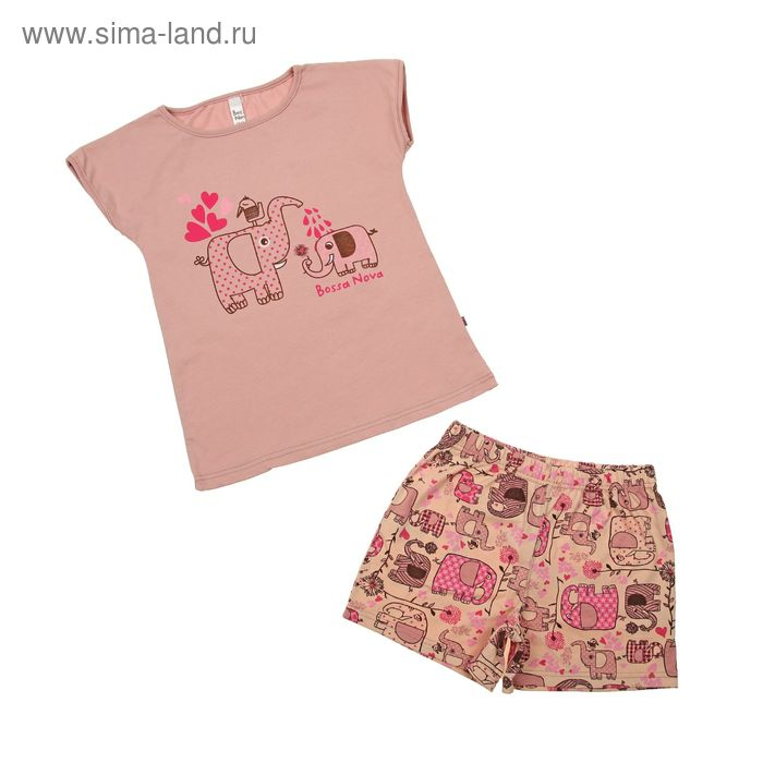 Пижама для девочки (футболка, шорты), рост 122-128 см (34), цвет бежевый/принт Слон (арт. 382Б-161)
