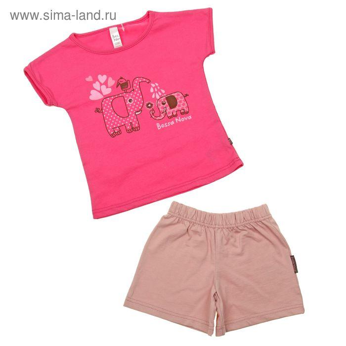 Пижама для девочки (футболка, шорты), рост 98-104 см (30), цвет розовый/принт (арт. 382Б-161)