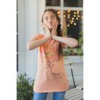 Платье для девочки, рост 98-104 см (30), цвет персик/принт (арт. 118Б-461)