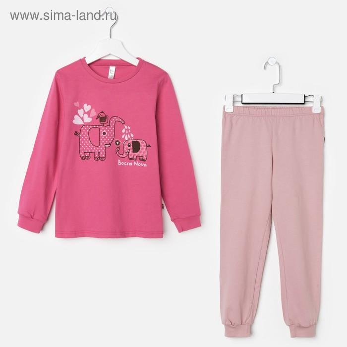 Пижама для девочки (джемпер, брюки), рост 122-128 см (34), цвет розовый/принт (арт. 356Б-161)