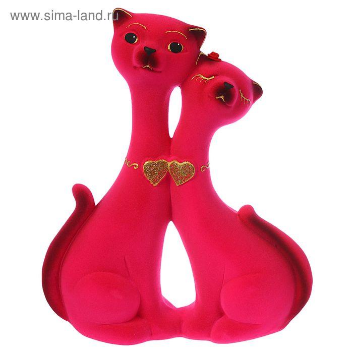 """Копилка """"Влюбленная пара"""" средняя, флок, розовая"""