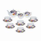 "Сервиз чайный ""Вечерний чай"", 15 предметов: чайник 800 мл, 6 чашек 220 мл, 6 блюдец, сахарница, молочник"