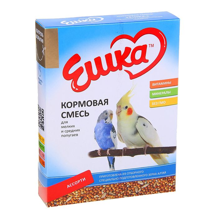 Корм «Ешка» для мелких и средних попугаев, ассорти, 500 г
