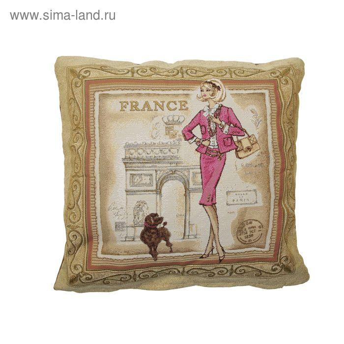 """Наволочка из гобелена """"Багет Франция"""", размер 45х45 см, цвет розовый"""