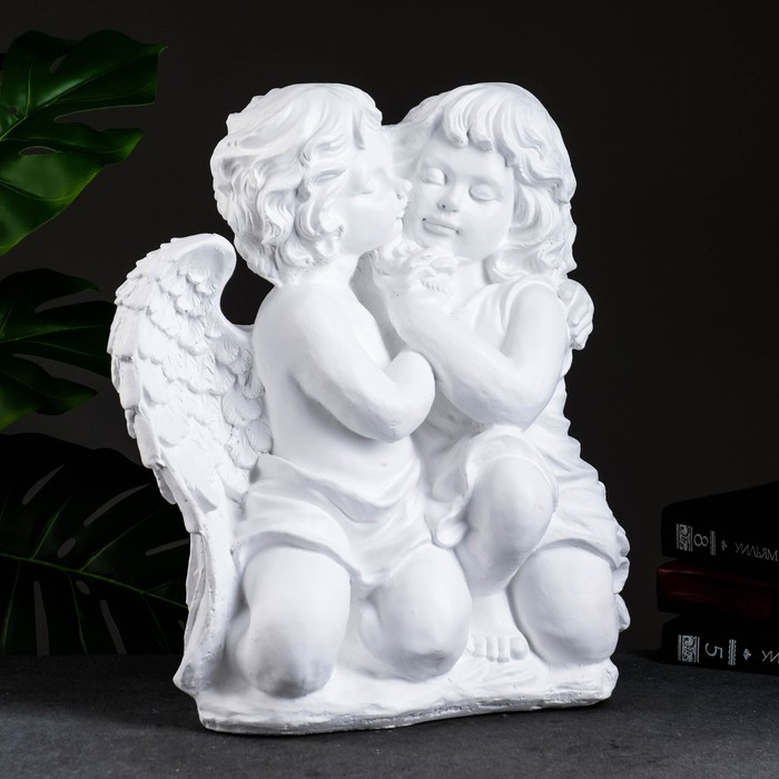 """Фигура """"Ангел и Фея сидя"""" большая, белый 19х34х44см - фото 1003353"""