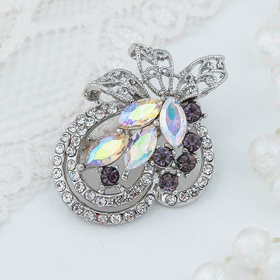 "Brooch ""Flower bouquet"" peace, color rosy lilac in silver"