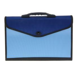 Папка-портфель A4 13 отделений Lamark, морозоустойчивый пластик, усиленная ручка, с текстильной окантовкой, синий/голубой Ош