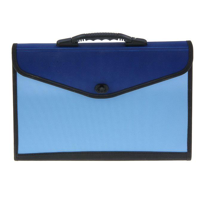 Папка-портфель A4 13 отделений Lamark, морозоустойчивый пластик, усиленная ручка, с текстильной окантовкой, синий/голубой