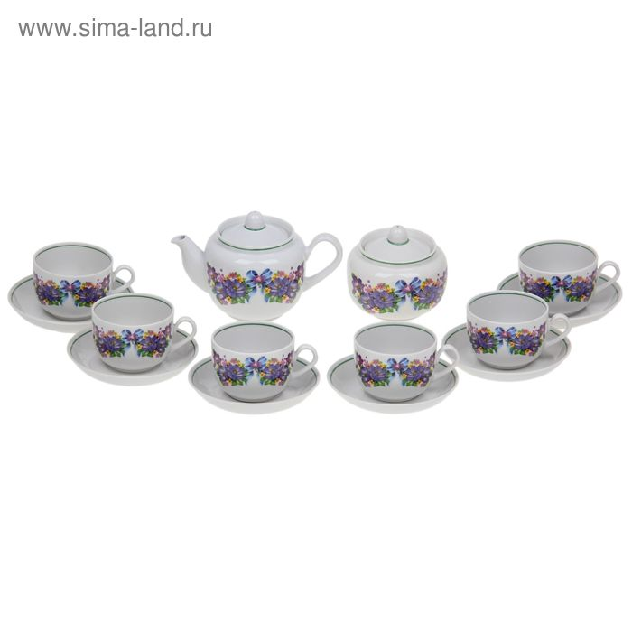 """Набор чайный на 6 персон """"Фиалка"""", 14 предметов: чайник, сахарница, 6 чайных пар"""