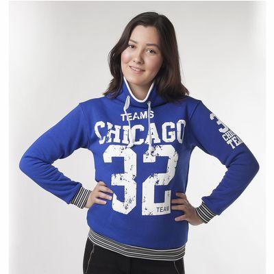"""Толстовка женская """"Чикаго 32"""", цвет синий, размер 48 (L) (арт. ТЖБК-СТ0001)"""