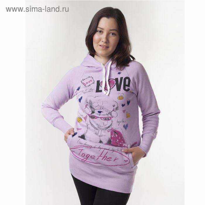 """Худи женские """"Мишка лав"""", цвет фиолетовый, размер 48 (L) (арт. ХЖ-СТ0004)"""
