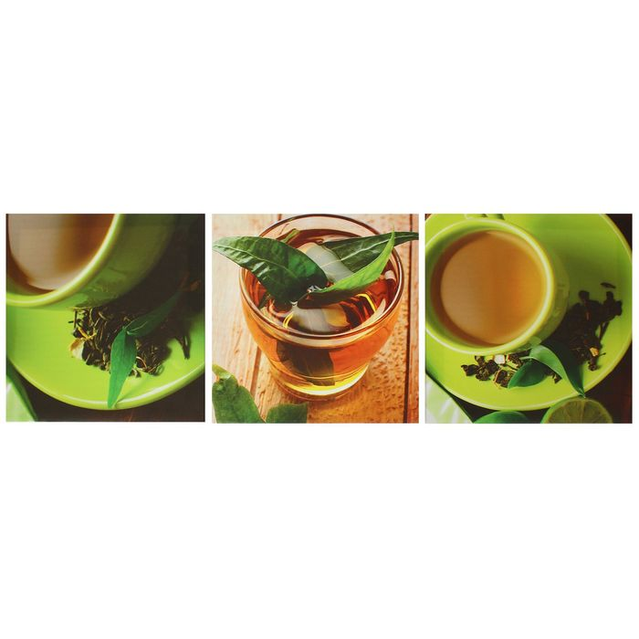 """Модульная картина на подрамнике """"Чашка чая"""", 3 шт. — 28×28 см, 28×84 см"""