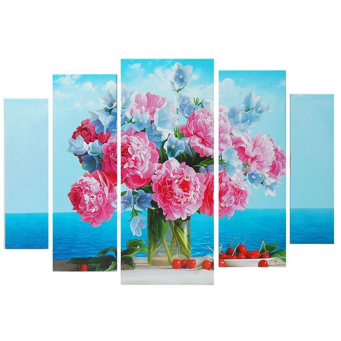 """Модульная картина на подрамнике """"Букет цветов"""", 2 — 53×16 см, 2 — 70×24, 1 — 80×34 см, 120×80 см"""
