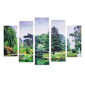 """Модульная картина на подрамнике """"Мостик в лесу"""", 2 — 53×16, 2 — 70×24, 1 — 80×34, 120×80 см"""