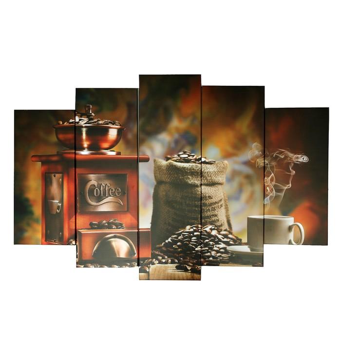 """Модульная картина на подрамнике """"Аромат кофе"""", 2 — 53×16 см, 2 — 70×24 см, 1 — 80×34 см, 120×80 см"""