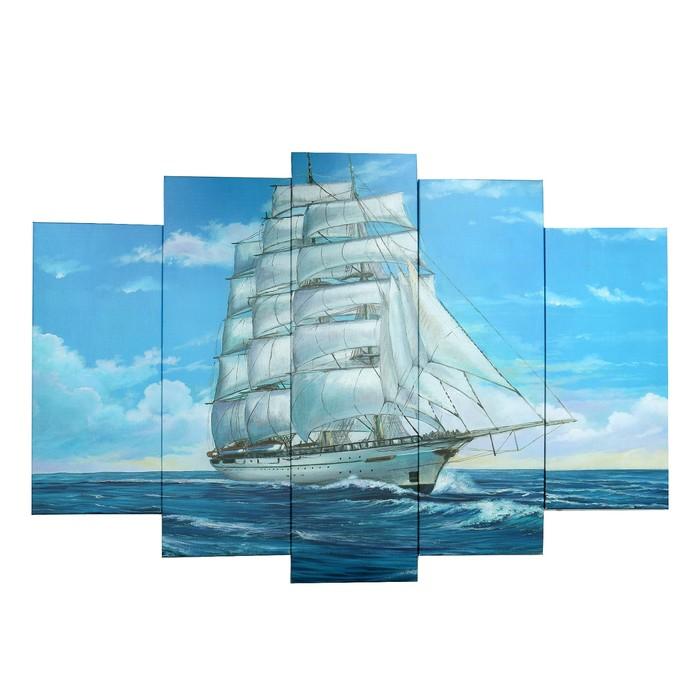 """Модульная картина на подрамнике """"Корабль"""", 2 — 53×16, 2 — 70×24, 1 — 80×34, 120×80 см"""
