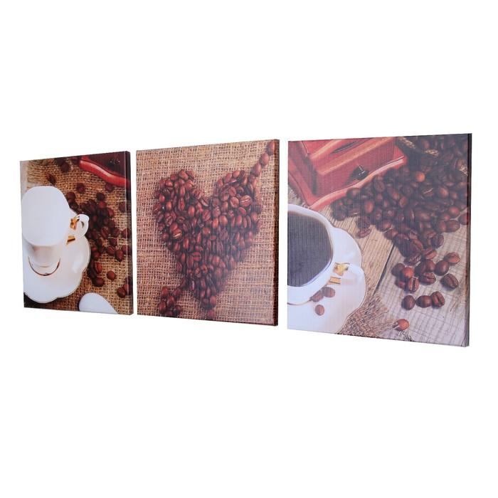 """Модульная картина на подрамнике """"Любимый напиток"""", 3 шт. — 28×28 см, 28×84 см"""